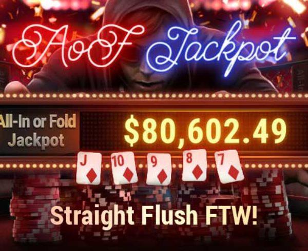 Jackpot Winner AoF online poker Straight Flush